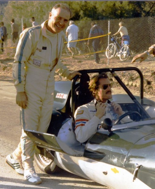 Tom Griffiths (standing) let Perry King drive his Lotus. King was only one of quite a host of Hollywood stars either driving or watching.