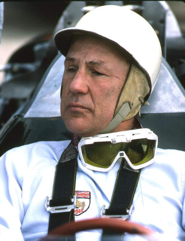 Stirling Moss wore his old fifties-era Cromwell helmet. By the mid-eighties, it was no longer legal in the U.S., but none of the officials said anything to him about it.