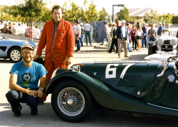 Anatoly Arutunoff (kneeling) came all the way from Tulsa, Oklahoma and let John Dixon (standing) to drive his Morgan in the Fabulous Fifties Reunion.