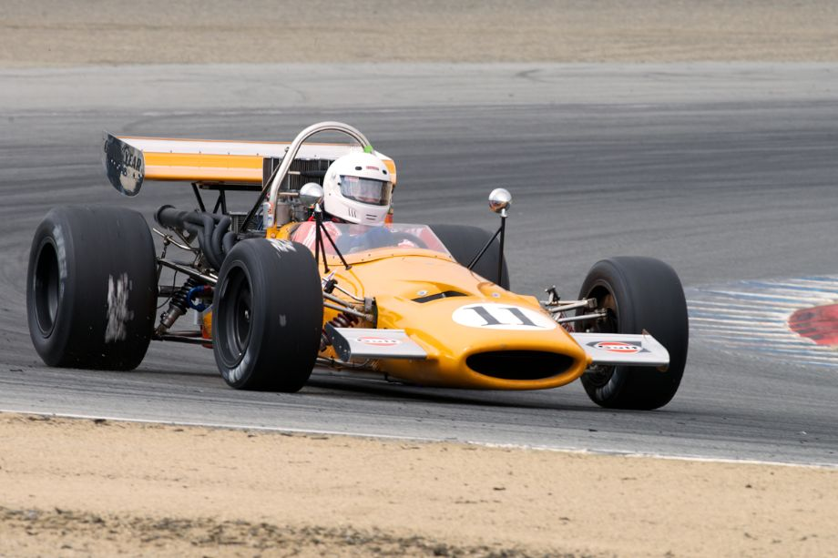 Martin Fogel's 1969 McLaren M10A fitted with 'sticker' tires in turn two.