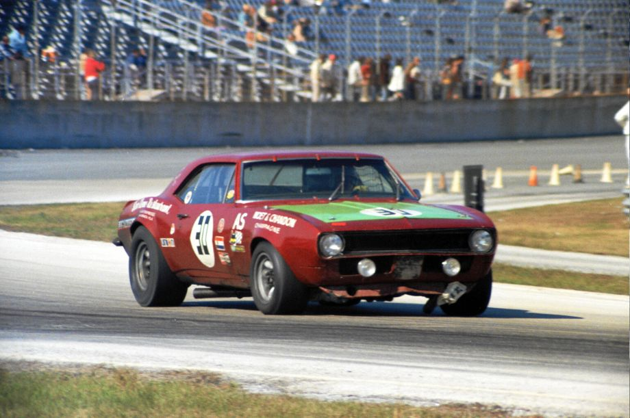 Guido Levetto takes his San Remo Camaro through turns one and two on the infield course.  Along with brother Mario and friend Ara Dube they finished in thirteenth spot.  Louis Galanos photo.