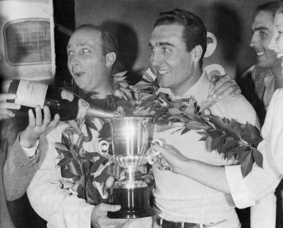 Fangio and Castellotti enjoying some champagne