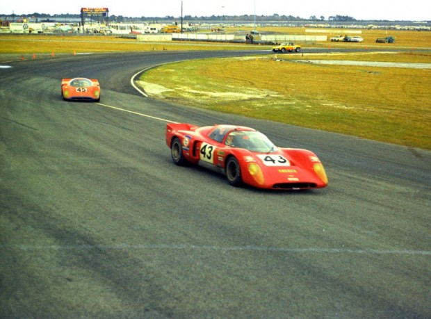 Pair of Chevron B16 onto high banks at Daytona