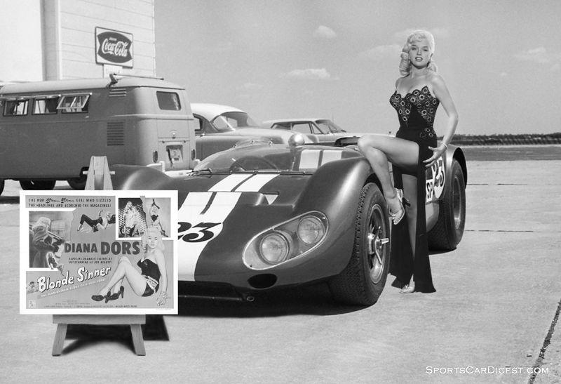 English actress Diana Dors doing a photo shoot at Sebring in 1965.  Dave Nicholas photo.