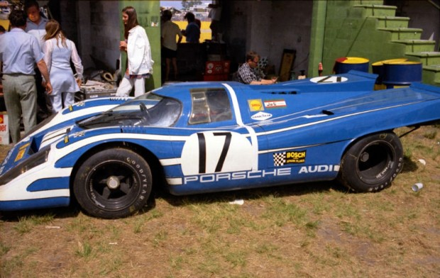 The Porsche 917K of Hans Herrmann and Rudi Lins behind the wall after experiencing engine problems early in the race.  The car was entered by Porsche AUDI/Shell.