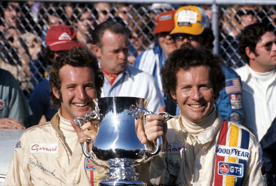 The win by Haywood (on left) and Gregg was the first major international win for a 911-based car.  Autosports Marketing Associates, Ltd. photo.