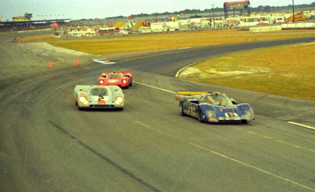 These three cars finished 1-2-3.  The #2 Porsche 917K of Pedro Rodriguez and Jackie Oliver finished first.  The #23 red Ferrari 512S of Tony Adamowicz and Ronnie Bucknum finished second and the blue #6 Penske Ferrari 512M finished third driven by Mark Donohue and David Hobbs.
