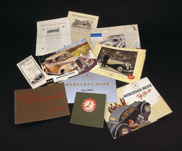 Memory of products: the archive collection also includes sales brochures; the selection shown spans five decades
