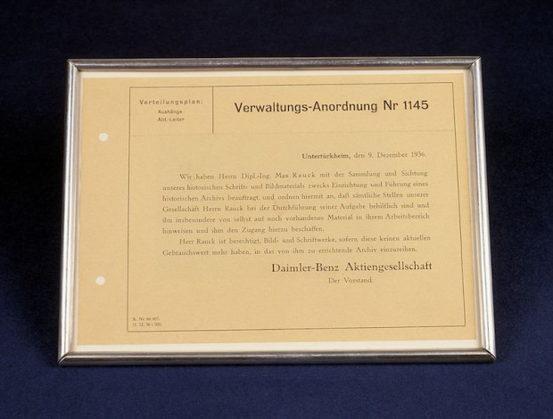 Administrative order no. 1145 dated 9 December 1936 announced the foundation of a Daimler-Benz AG historical archive