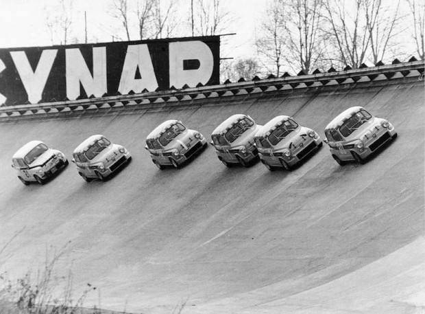 Testing the Fiat 695 Abarth at Monza in race trim, 1966