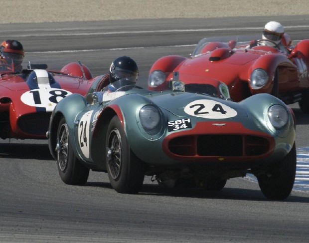 <strong>December - 1956 Aston Martin DB3S leads two Ferrari 250TRs in turn five during Laguna Seca's 2009 Monterey Historics. (Note clever green and red color combo - ho, ho, ho).</strong>