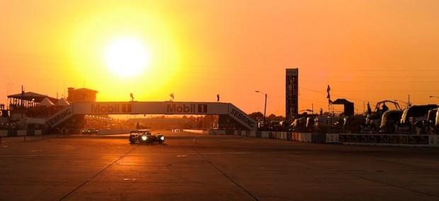 Audi R15 TDI at dusk during 2011 Sebring 12 Hours