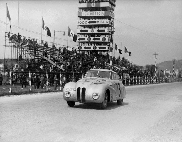 BMW 328 Kamm Coupe racing in the Mille Miglia