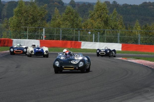 Philip Walker - Lotus XV leads McIntyre's Lotus XV, Majzub's Sadler Mk III, Van der Kroft/Burnett's Cooper Monaco and the Wood/McCaig Lister Knobbly
