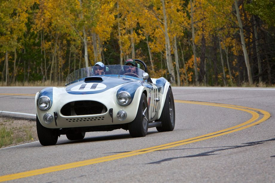 Chris Andrews and Jennifer Moore navigate the curves of Gore Pass in their 1963 Shelby Cobra
