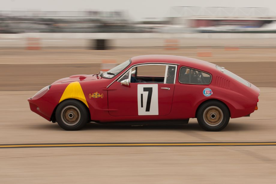 Steve Schmidt at speed in his 1965 Mini Marcos MkIII GT.