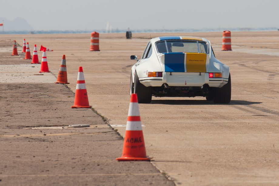 Erich Joiner brakes for turn one in his 1972 Porsche Carrera RSR