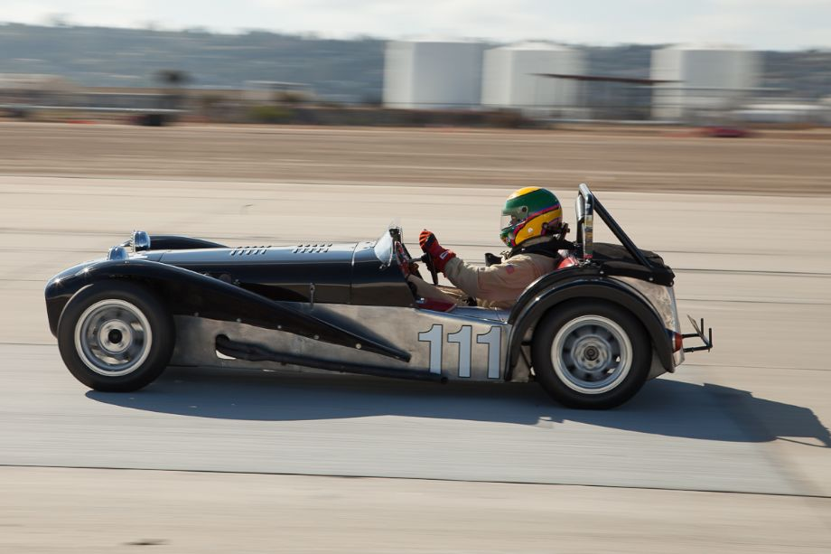 Mike Taradash at speed in his 1962 Lotus Super 7.