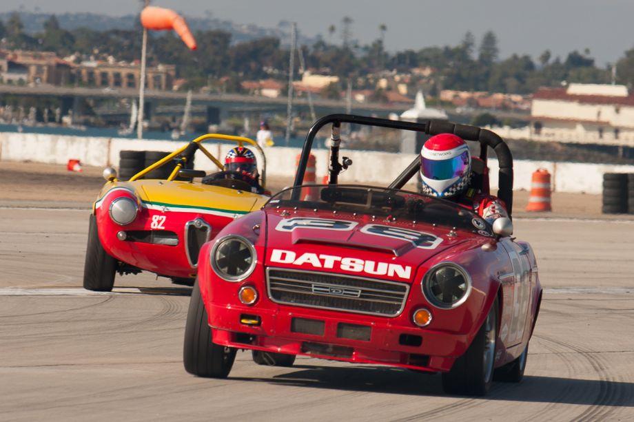 Ron Carter exits turn ten in his 1967 Datsun 2000.