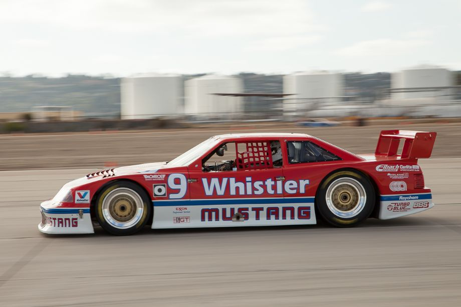 Steve Schuler at speed in the turbo monster that is the 1991 Roush Ford Mustang.