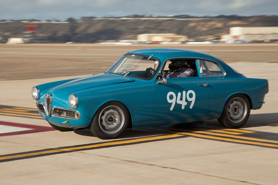 Tom Farrington and his 1959 Alfa Romeo Giulietta Sprint.