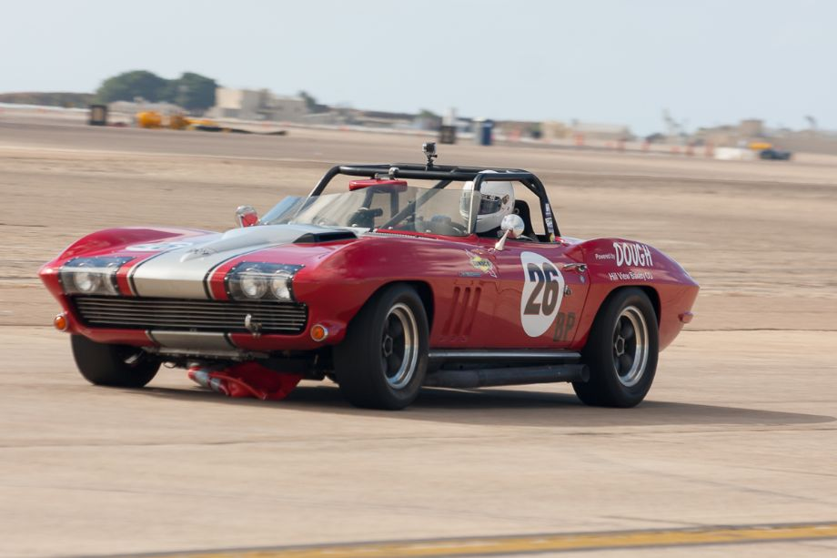 Doug Manista finds himself dragging the cone in his 1965 Chevrolet Corvette.