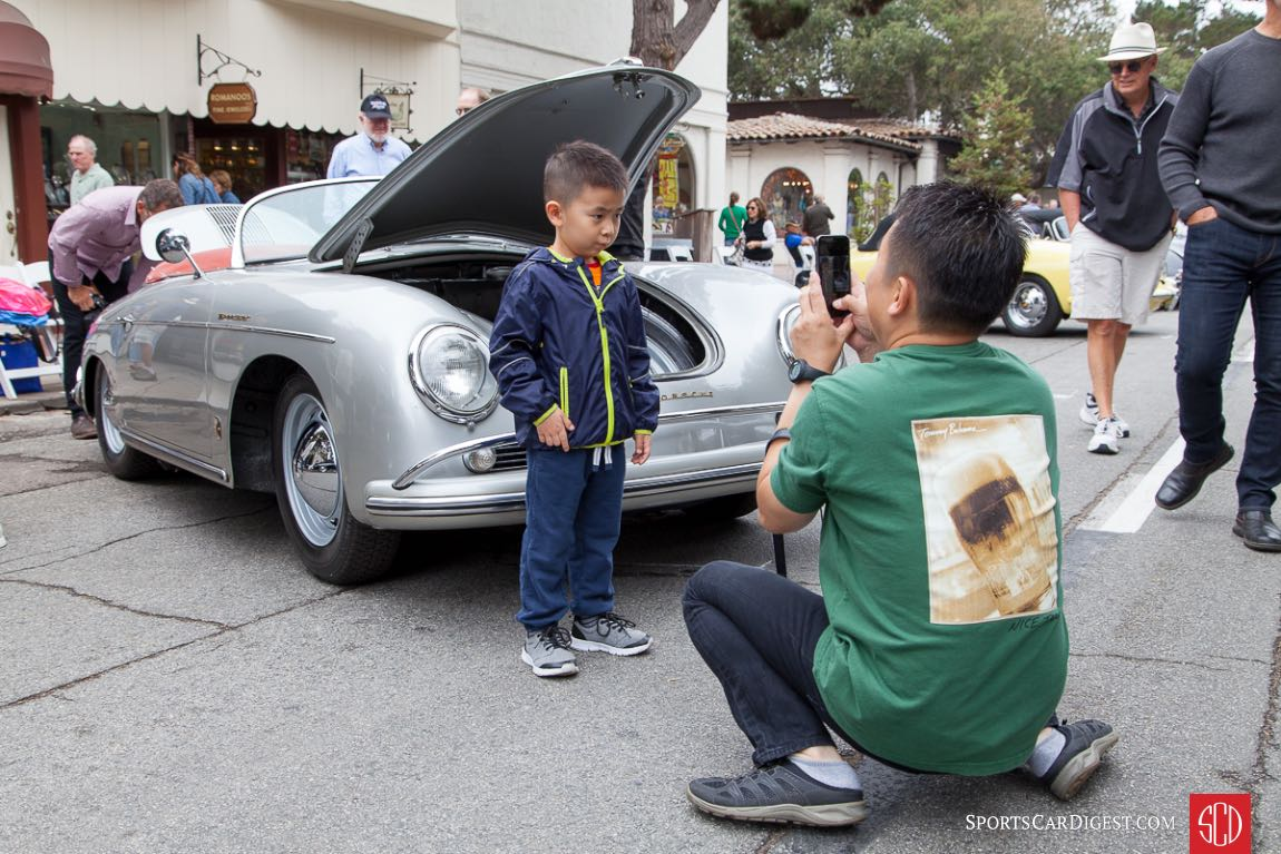 Father and son in front of a 1958 Porsche 356 A Speedster
