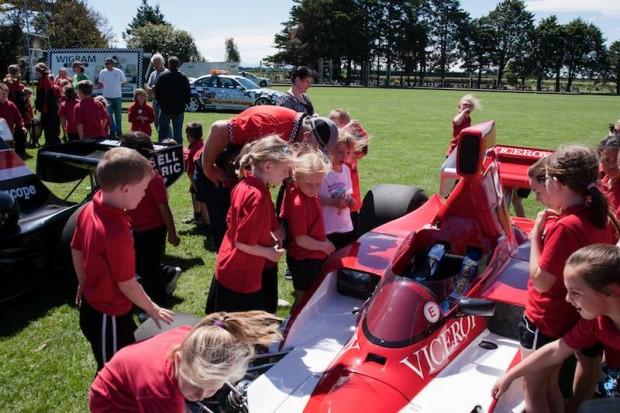 School kids enjoy seeing the F5000 racers
