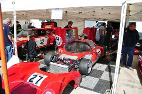 Chevron B16 being prepared in the paddock. Photo: Simon Wright