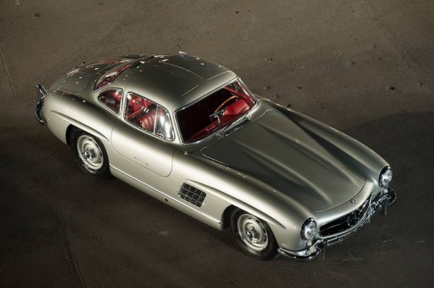 The 1955 Mercedes-Benz 300SL Gullwing was purchased new by Clark Gable at Mercedes-Benz of Hollywood, California. Gable ditched the standard steel wheels for the racing Rudge knock-offs the car wears now. From the Bob Howard Collection.
