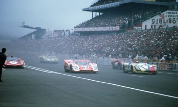 14 June 1970 24h Le Mans; No. 23: Hans Herrmann and Richard Attwood in a 917 K Coupe; overall winners; No. 27: Rudi Lins and Helmut Marko in a 908/02 Spyder L 'Flunder' finished 3rd overall