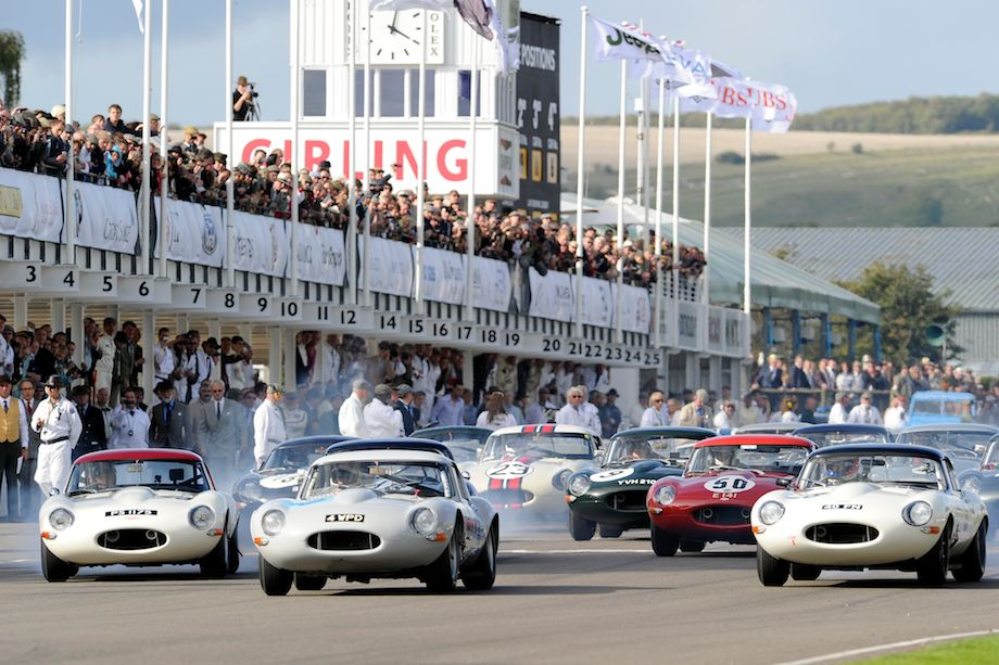Start of the Fordwater Trophy Race for Jaguar E-Types at the 2011 Goodwood Revival