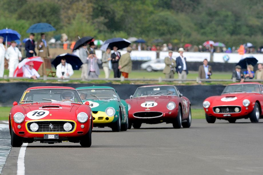 Ferrari 250 GT SWB Comp leads the Ferrari 250 GTO, Ferrari 250 Drogo and another Ferrari 250 GT SWB Comp