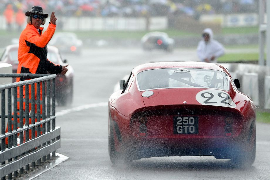 Ferrari 250 GTO gets approval to enter the rainy circuit at the 2011 Goodwood Revival