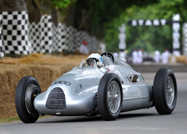 Nick Mason drives the 1939 Auto Union Type D at Goodwood Festival of Speed