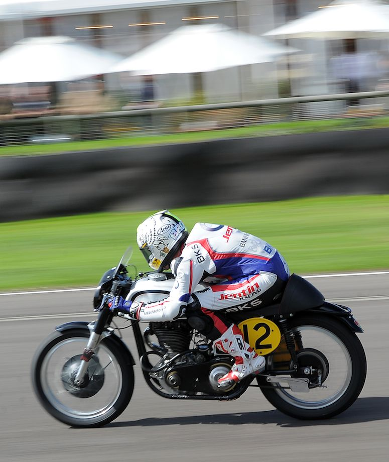 Tucking in during the Barry Sheene Memorial Trophy Race