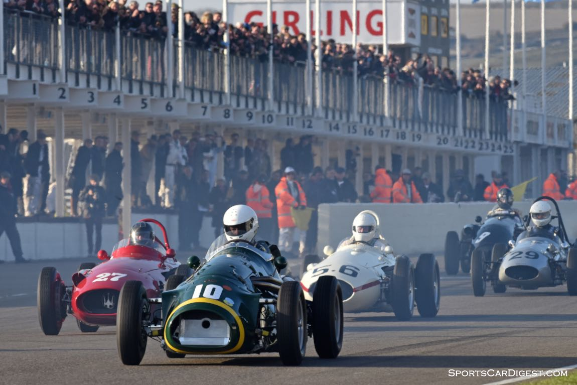 1953 Connaught A-type followed by pair of Maserati 250F single-seaters