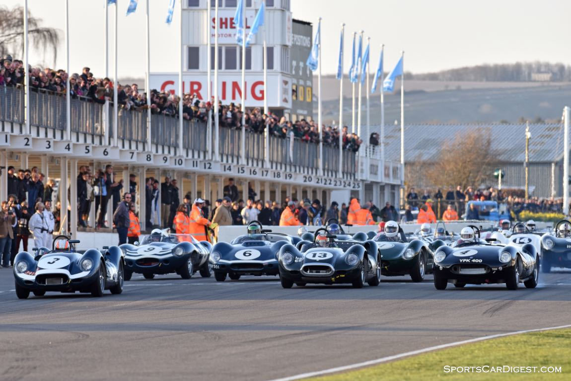 Start of the Salvadori Cup for 1955-1960 Sports Prototypes - Goodwood Members Meeting 2015