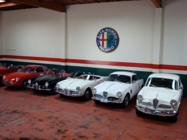 Alfa Romeos in Martin Swig's garage.