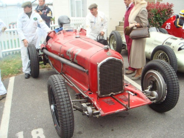 Hugh Taylor's 1934 Alfa Romeo Tipo B in the Goodwood collecting area.