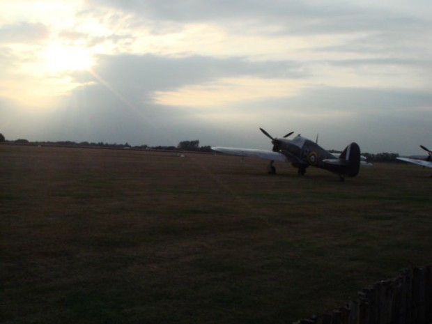 This is 6.30 am on Saturday, a Spitfire sitting on the same field as it did 70 years ago.
