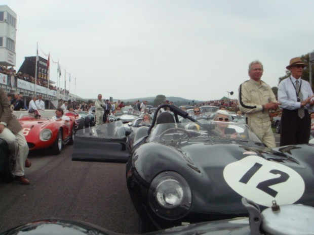 Just part of the huge parade of cars raced by Stirling Moss during his career which gathered on the grid in his honour.