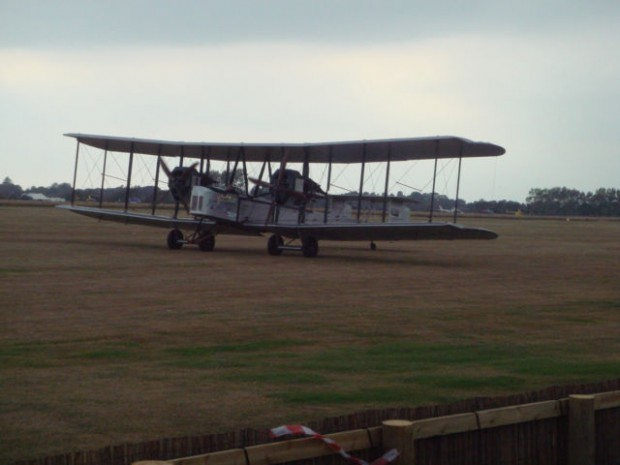 This very early Vickers Vimy which has made a trans-Atlantic crossing, with an open cockpit, landed on Saturday morning.