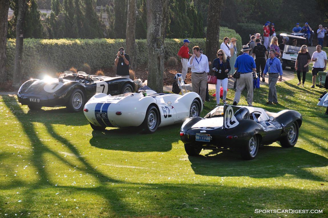 1954 Jaguar D-Type, 1958 Lister-Jaguar Knobbly and 1953 Jaguar C-Type