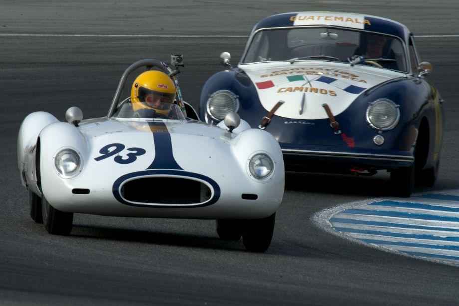 1955 Cooper Type 39 Bobtail driven by David Brown followed by the 1952 Porsche 356 Pre A driven by Richard Clark.