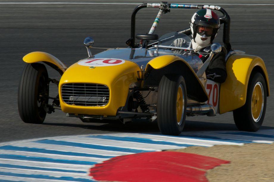 Enrico Tenni's 1962 Lotus 7 in turn two.