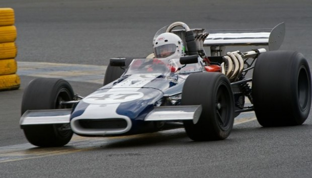 Gurney Eagle Mk 5 of Steve Davis in turn eleven at Sears Point