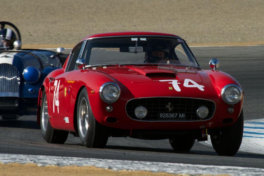 Ned Spieker's 1961 Ferrari 250GT SWB Berlinetta in turn two.