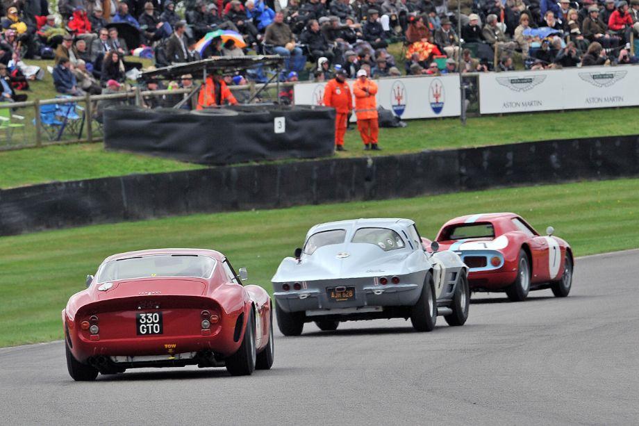 Ferrari 330 GTO follows Chevrolet Corvette Split-Window Coupe and Ferrari 250 Le Mans