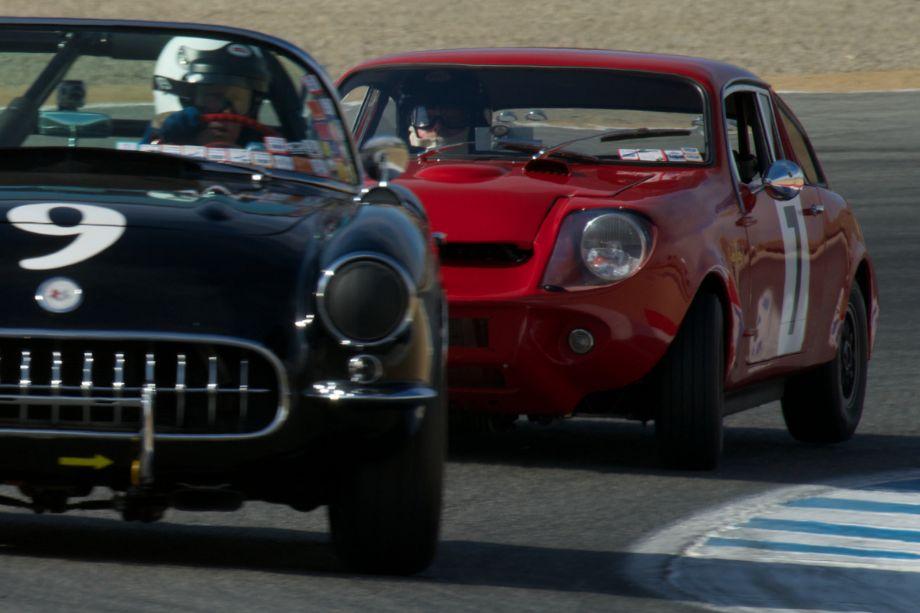 Elmo pursues a Corvette.